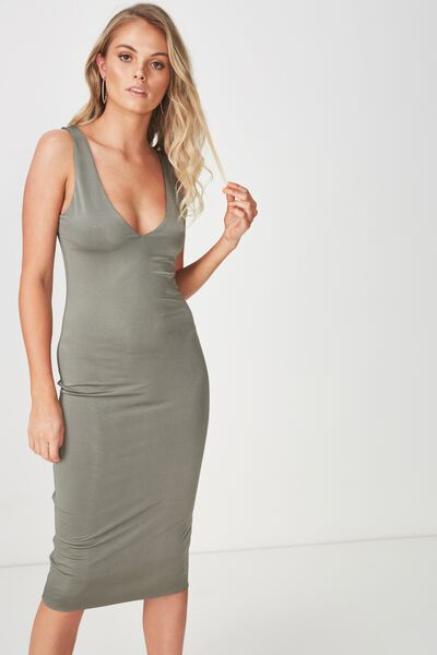 Luxe Shiny V Neck Dress, JUNGLE KHAKI