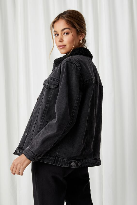 Denim Faux Sherpa Jacket, CHARCOAL BLACK