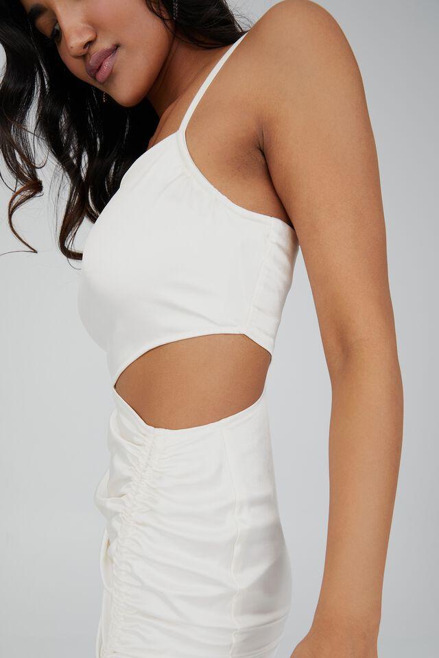 Joanna Ruched Cut Out Midi Dress, WARM WHITE