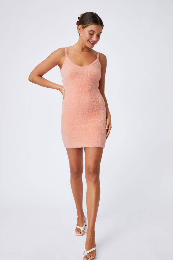 Melissa Fluffy Mini Dress, PEACHY ROSE