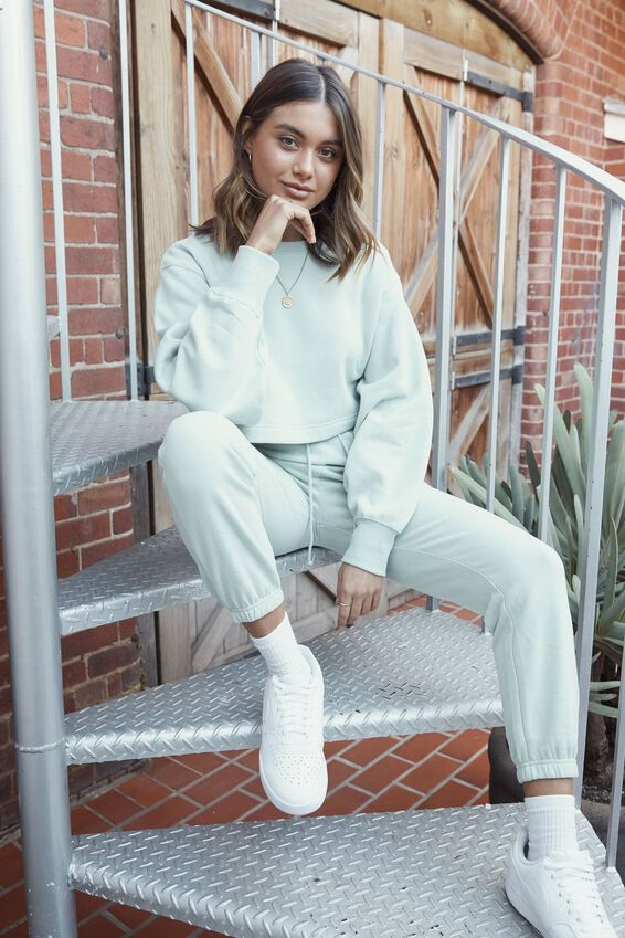 Crop Crew Neck Jumper, MINTY GREEN