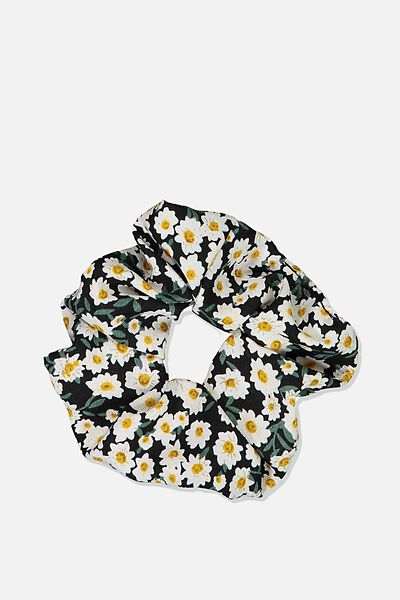 Small Floral Scrunchie, BLACK DITSY