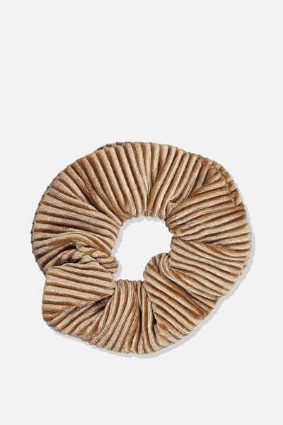 Pleated Plush Scrunchie, FRAPPE