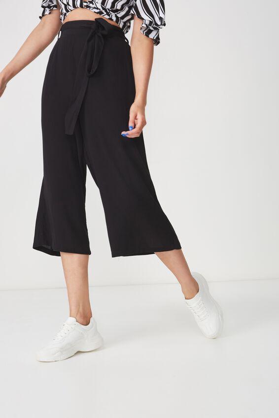 Ruby Crop Tie Waist Pant, BLACK