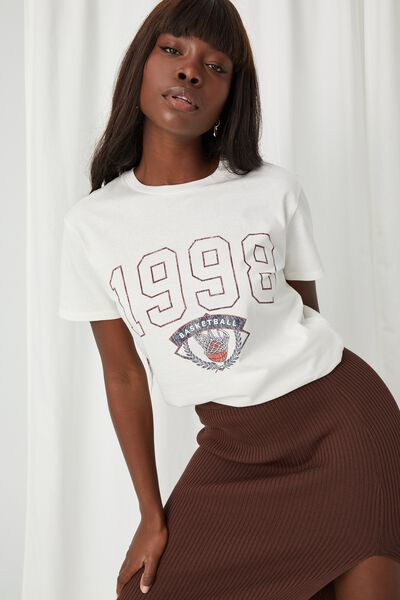 Lola Printed Longline T Shirt, WINTER WHITE/1998 BASKETBALL