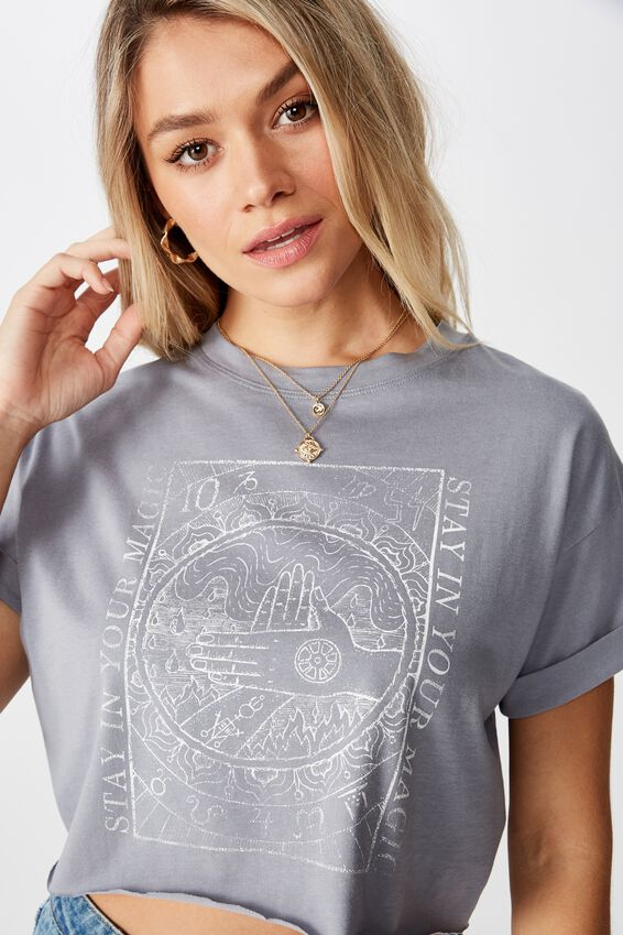 Tamara Graphic Crop Tee, BLUE GREY/STAY IN YOUR MAGIC