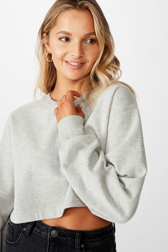 Crop Crew Neck Jumper, GREY MARLE