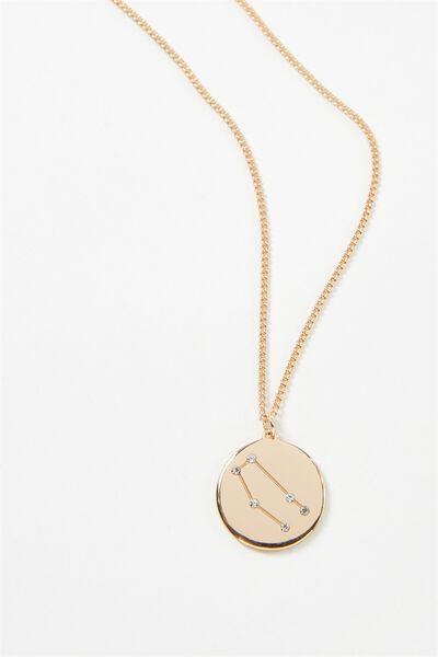 Horoscope Necklace, GEMINI/GOLD