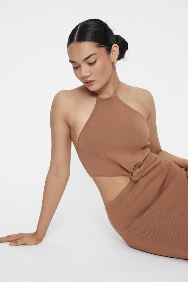 Axel Knot Front Mini Dress, CARAMEL