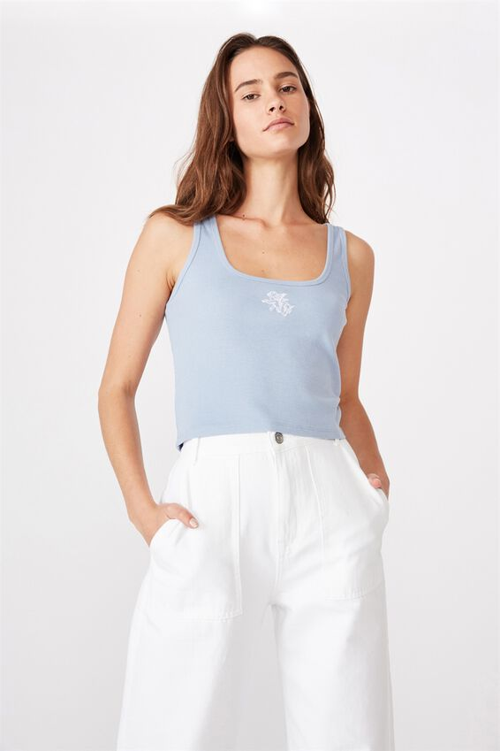 Michelle Graphic Fitted Tank, BLUE RIDER MARLE/CHERUB
