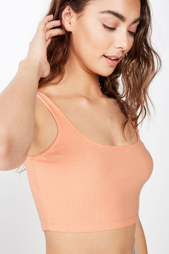 Ari Rib Crop Top, PEACH NECTAR