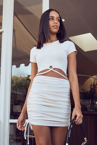 Jules Cut Out Ruched Dress, COOKIE CREAM