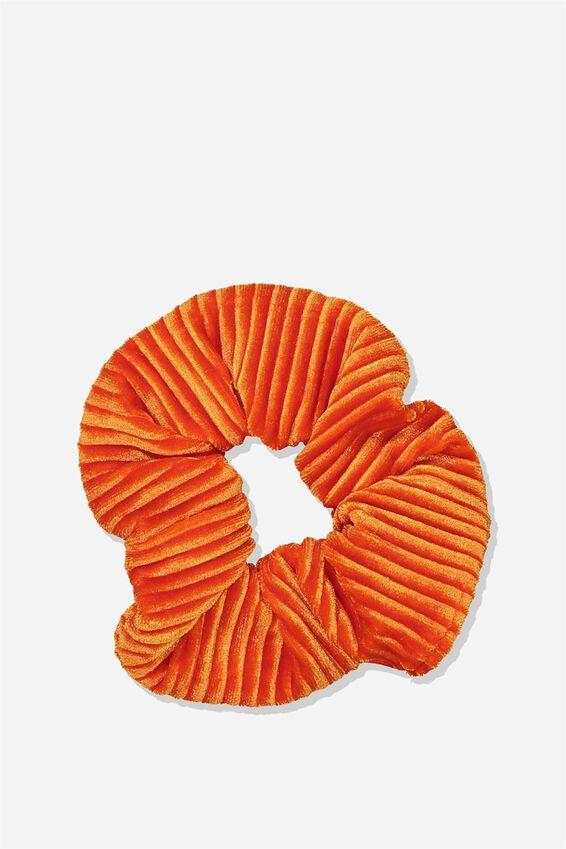 Pleated Plush Scrunchie, BURNT ORANGE