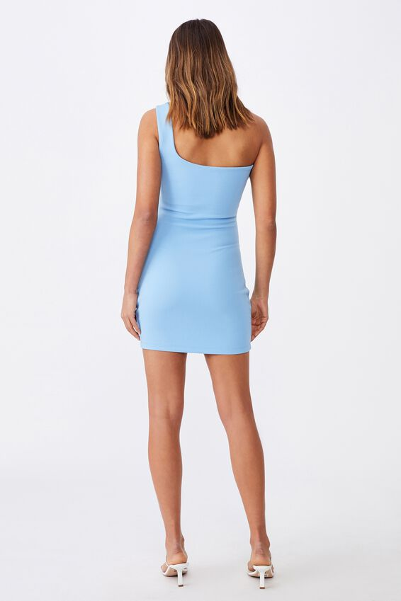 Evelyn One-Shoulder Ponte Dress, CAPRI BLUE