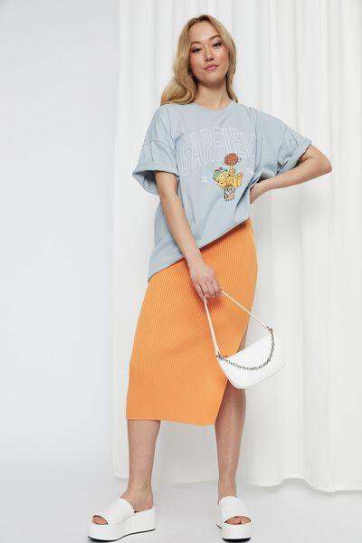 Candace Oversized Printed T Shirt, MISTY SKY/LCN NIC GARFIELD BBALL