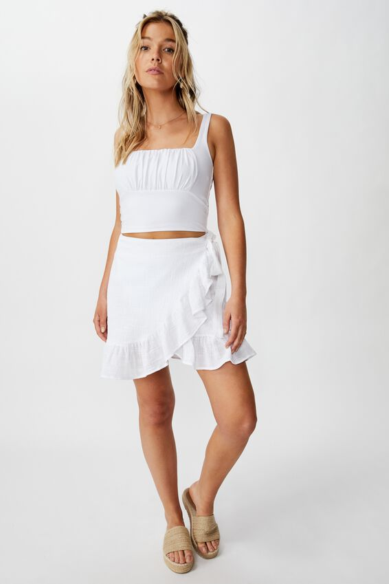 Charlotte Gathered Front Cami, WHITE