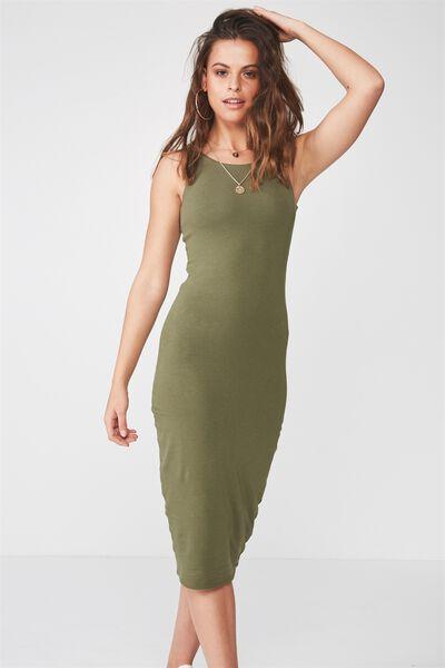 Sleeveless Midi Dress, KHAKI
