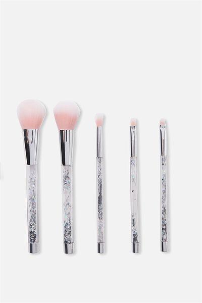 Glitter Make Up Brush Set, SILVER/BLUSH