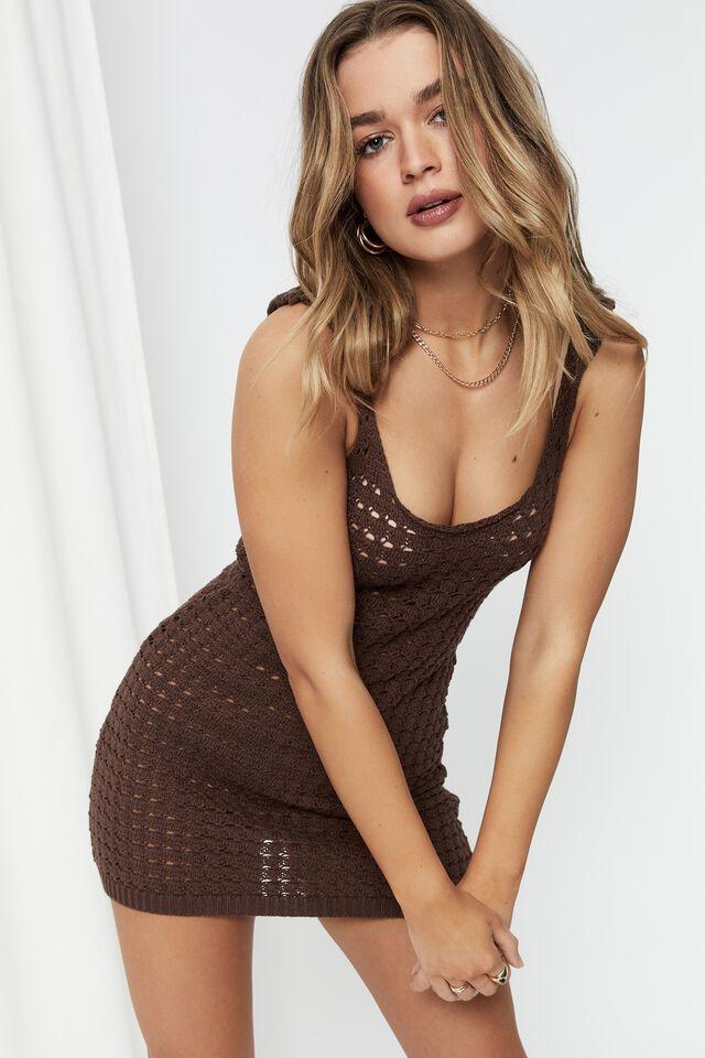 Norah Crochet Mini Dress, BRUNETTE