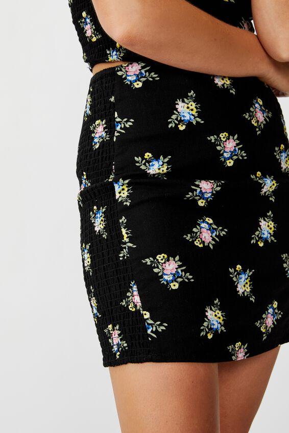 Naomi Shirred Side Skirt, BLACK BOUQUET FLORAL