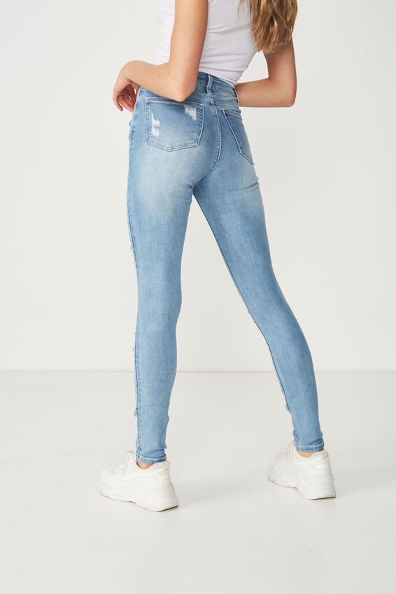 Long Skinny Premium Ripped Jean, VINTAGE BLUE