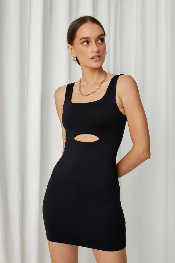 Chrissy Cutout Mini Dress, BLACK