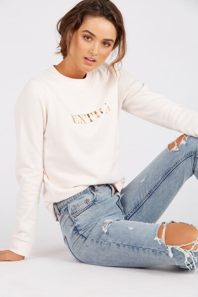 Graphic Crew Sweat Top, CREAM/EXTRA