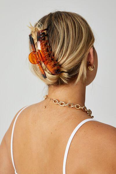 Rosa 2 Pack Rectangle Hair Claw, TORTOISE SHELL/BLACK