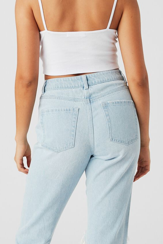 The Mom Ripped Denim Jean, FADED BLEACH RIPPED