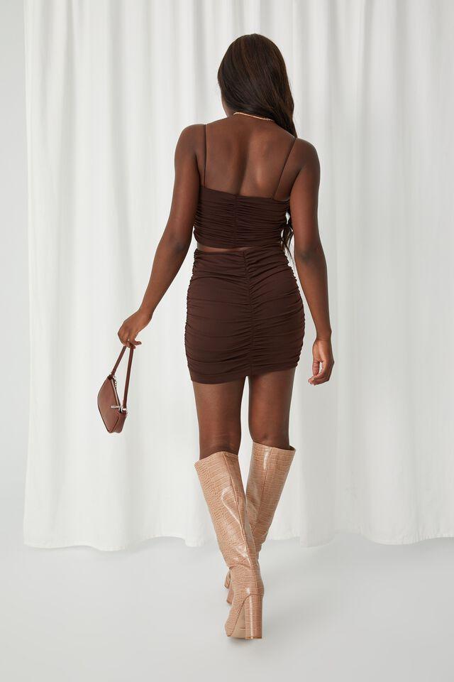 Shani Gathered Mini Skirt Co Ord, CHOCOLATE