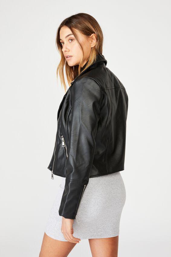 Faux Leather Biker Jacket, BLACK