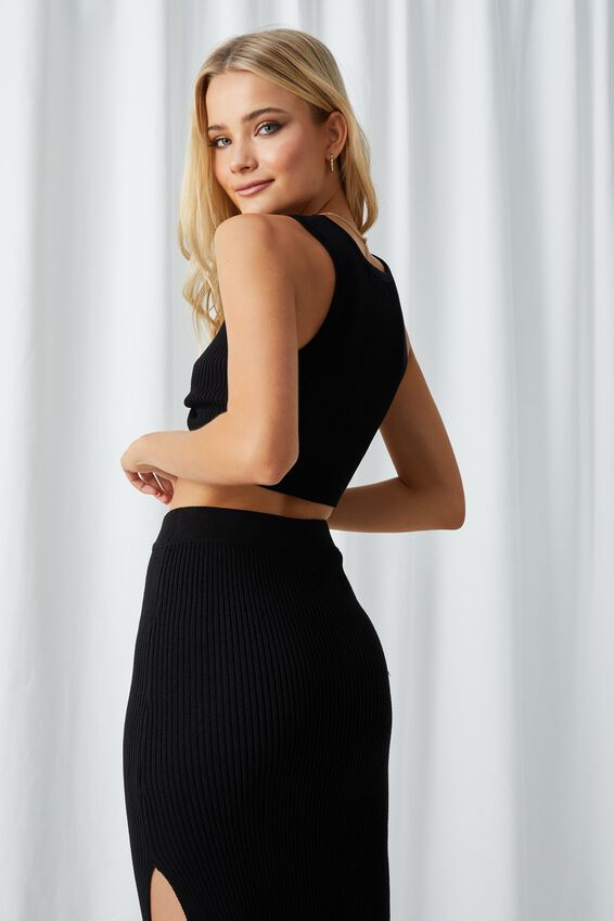 Leigh Twist Front Top, BLACK