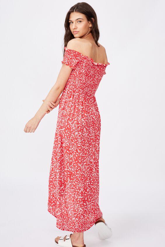 Lennie Off Shoulder Shirred Dress, RED SPRIG