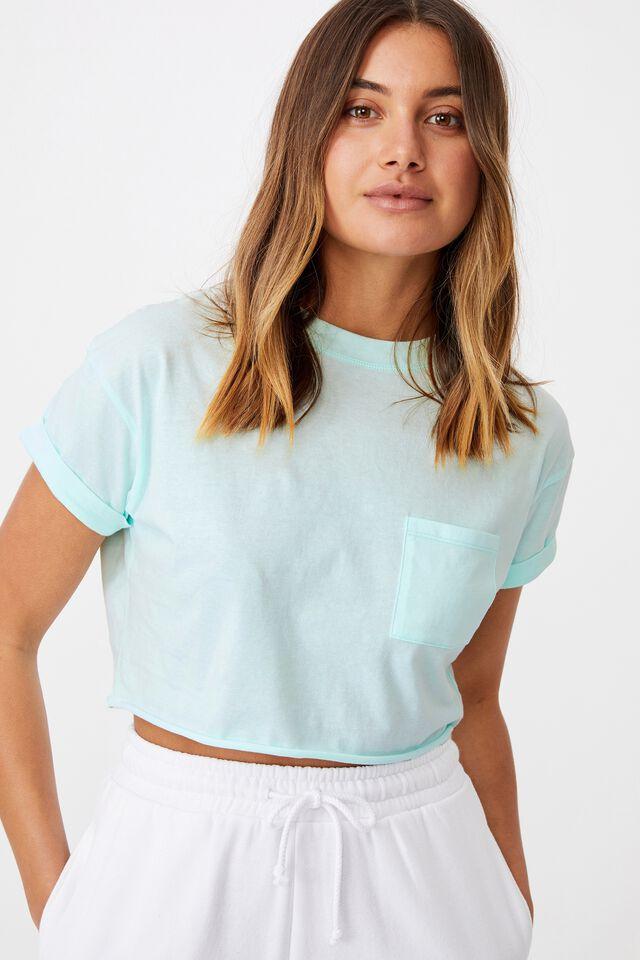 Ciara Crop T Shirt, BLEACH AQUA