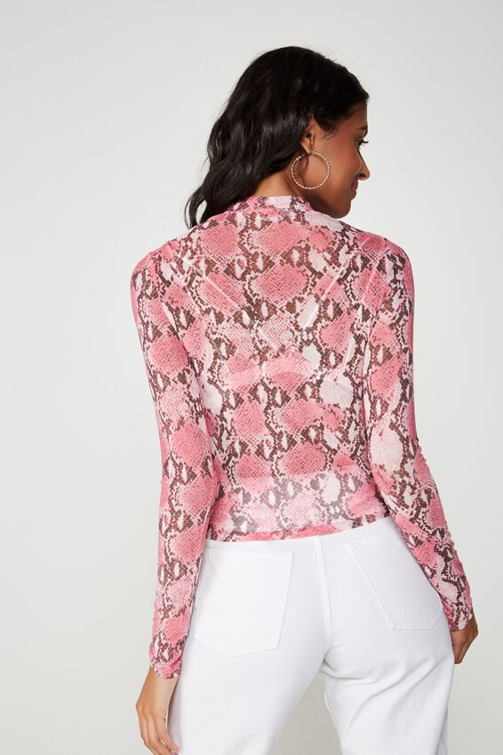 Lily Long Sleeve Mesh Top, QUEEN PYTHON MULTI