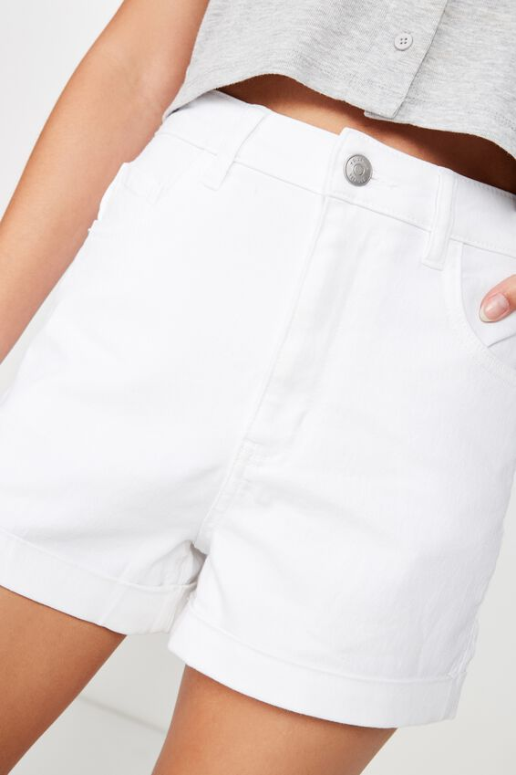 The Sky High Cuffed Short, WHITE