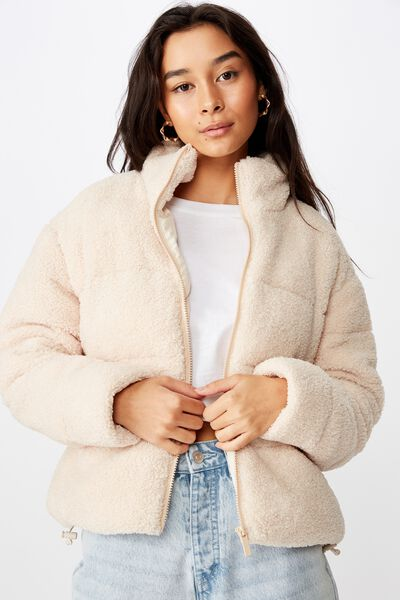 Tia Teddy Puffa Jacket, CREAM