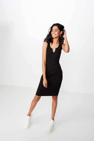 Edie Notch Rib Midi Dress, BLACK