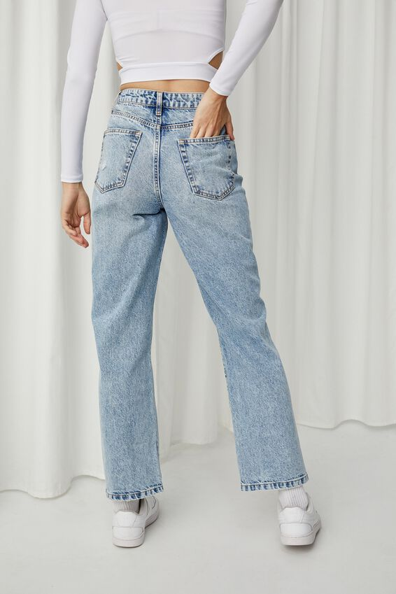 High Rise Straight Ripped Jean, ALASKAN BLUE RIPPED