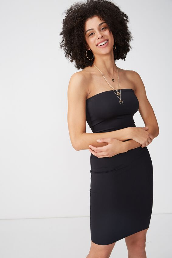 Party Strapless Midi Dress, BLACK