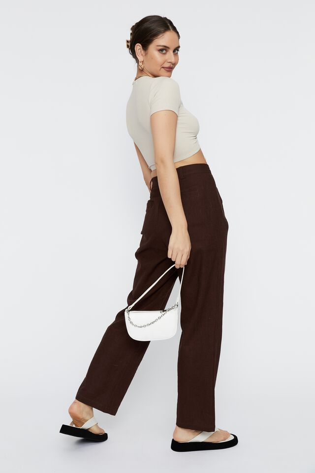 Mika Short Sleeve Ruched Top, BEIGE BUFF