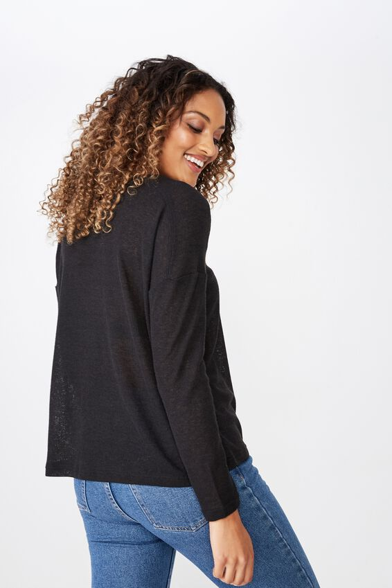 Naomi Long Sleeve Light Weight Top, BLACK