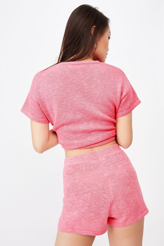Brittany Knit Short Co Ord, PUNCH PINK