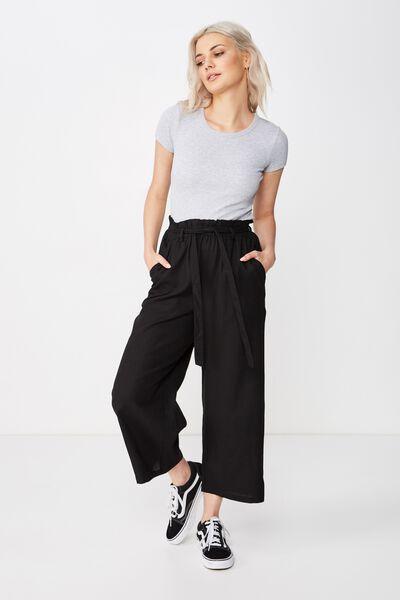 Crop Luna Paperbag Linen Pant, BLACK