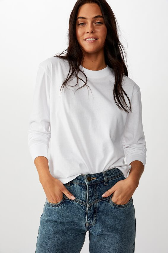 Teri Long Sleeve Crew Neck Top, WHITE