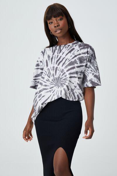 Piper Oversized T Shirt, SWIRL TIE DYE (WHT/GRY)