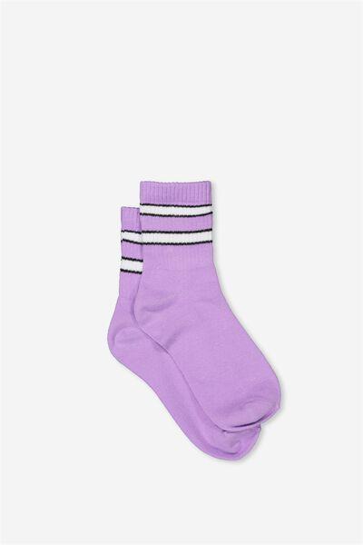 90S Sporty Crew Socks, LAVENDAR