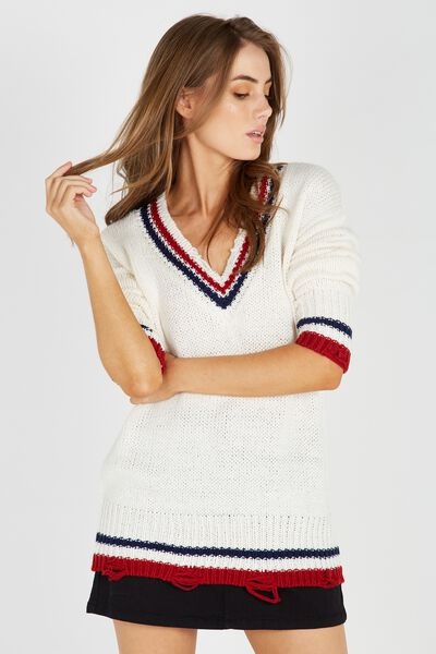 Viky V Neck Knit Sweater, CREAM/TIPPING