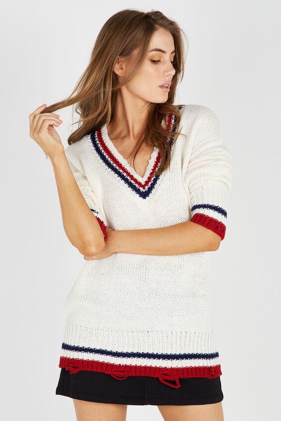 Viky V Neck Knit Sweater | Tuggl