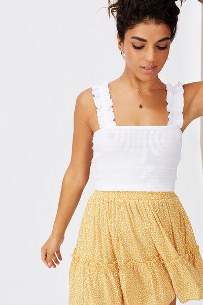 Norah Frill Crop Top, WHITE